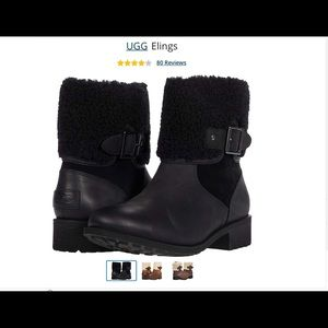 NWOT UGG BLACK ELINGS CLASSIC LEATHER BOOT